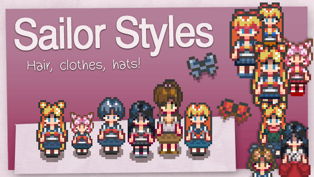 Sailor Moon Hair Styles and Outfits - Stardew Valley Mod
